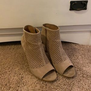 Tan peep toe booties